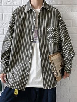 Bust Pockets Turndown Collar Long Sleeve Shirt