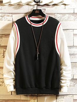 Contrast Binding Mens Pullover Sweatshirt