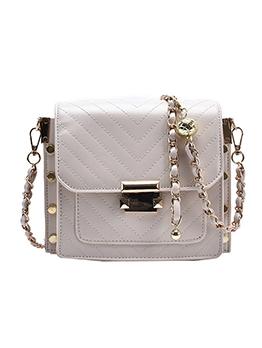 Rivet Striped Chain Pop Shoulder Bag