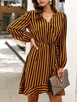 Euro Design Stripe Long Sleeve Dresses For Autumn