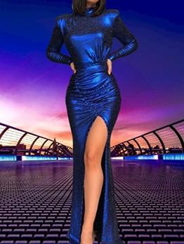 Open Back High Slit Long Sleeve Evening Dresses