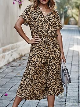 Hot Sale Leopard Printed Short Sleeve Dresses