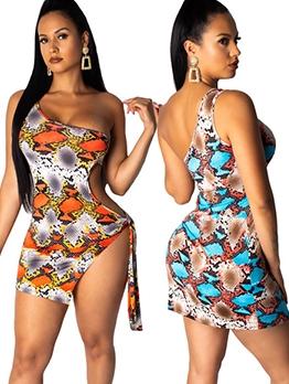 Inclined Shoulder Snake Print Sleeveless Dress