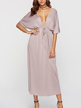 Deep v Solid Maxi Plus Size Dress