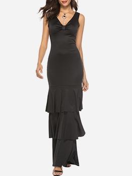 Black v Neck Ruffled Sleeveless Maxi Dress