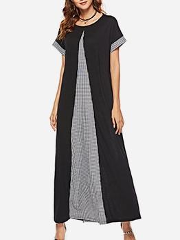 Crew Neck Plaid Patchwork Short Sleeve Maxi Dress