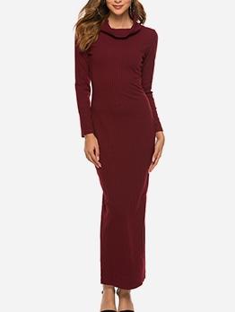 Euro Solid Women Long Sleeve Maxi Dress