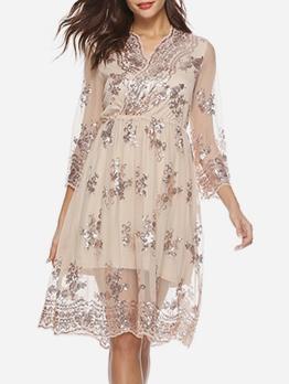 Euro Lacework Sequins Long Sleeve Dress