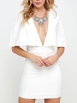 Deep v Cloak Design Bodycon Dress