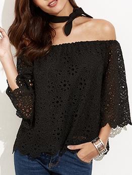 Off Shoulder Lace Long Sleeve Blouse