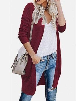 Simple Style V Neck Long Cardigan Sweater For Women