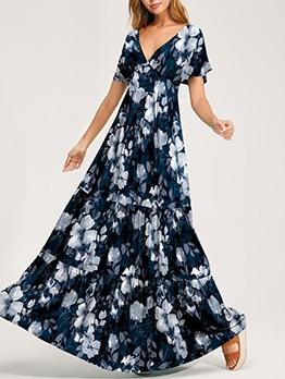 Back Tied v Neck Maxi Dress