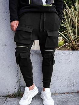 Solid Color Multi-Pocket Drawstring Men Sweatpants