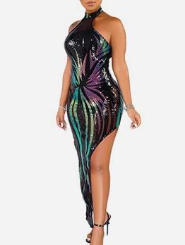Night Club Sequins Slit Cocktail Maxi Dress