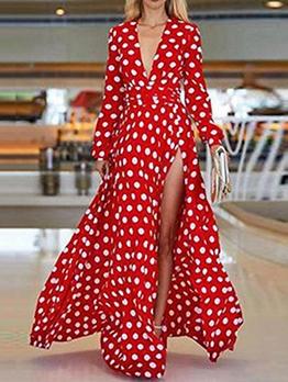 Bohemian V Neck Dot Printed Women Maxi Dress