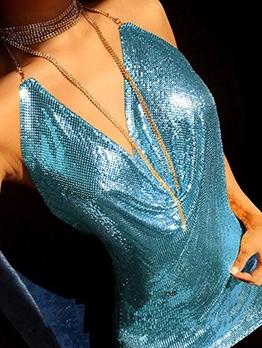 High-low Rhinestone Strap Split Sequin Sleeveless Dress