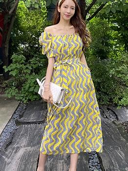 Loose Square Neck Short Sleeve Midi Dress