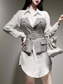 Elegant Belted Patchwork Shirt Dress
