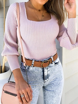 Solid Square Neck Long Sleeve Casual Blouse