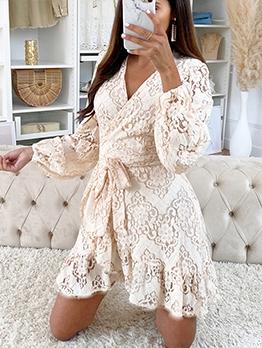 Elegant Temperament Printed Lace Short Dress