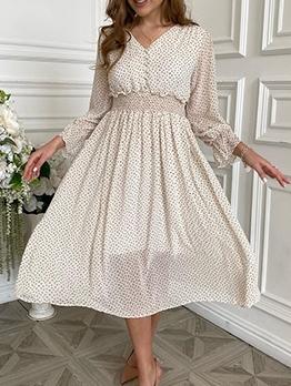 Vacation Long Sleeve Chiffon Dot Mid Dress