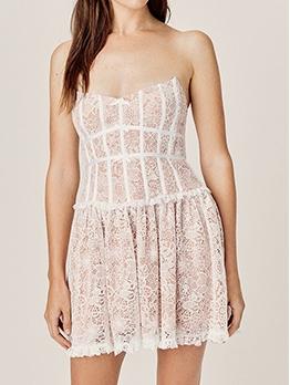 Elegant Lace Patchwork Bow Decor Strapless Dress