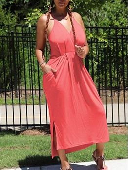 Backless V Neck Sleeveless Maxi Dress For Women