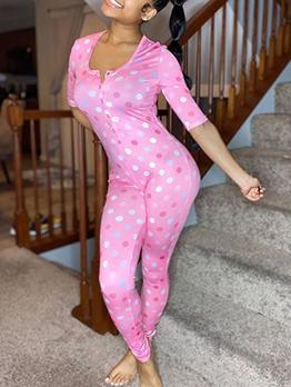 Polka Dot Button Up Half Sleeve Skinny Jumpsuit