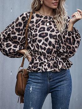 Crew Neck Long Sleeve Leopard Print Blouse