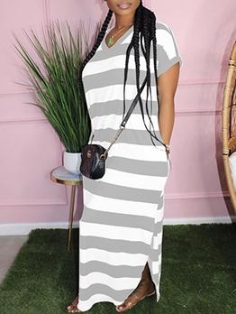 V Neck Striped Short Sleeve Maxi Dress