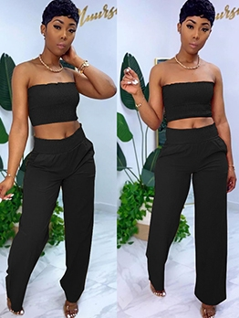Smocked Strapless Tank Top Two Piece Pants Set