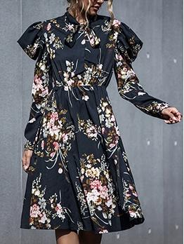 Elegant Printed Tied Neck Long Sleeve Dress