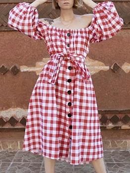 Plaid Off Shoulder Red Color Dress
