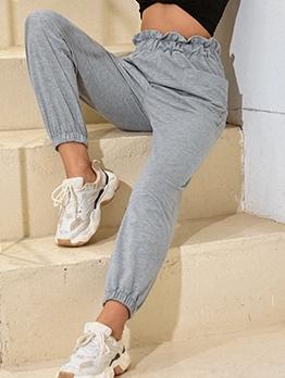 High Waist Ruffle Sport Casual Long Pants