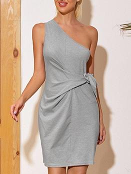 Fashion Inclined Shoulder Drawstring Sleeveless Dress
