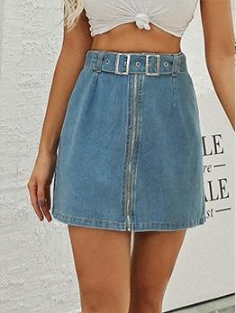 Belt Design High Waist Solid Denim Skirt