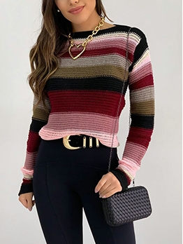 Colorful Long Sleeve Striped Womens Sweater