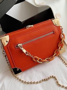 Chic Solid Zipper Pu Chain Shoulder Bag