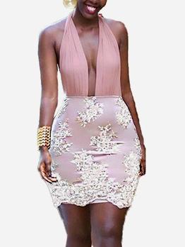 Sexy Deep V NECK Patchwork Halter Dress