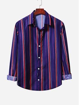 Autumn Long Sleeve Striped Shirt For Men