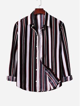 Hot Sale Striped Mens Shirt Long Sleeve Casual