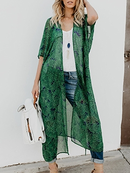 Chiffon Solid Printed Beach Cover Up