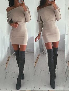 Solid Sexy Night Club Skinny Dress