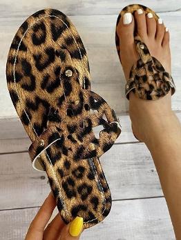 Summer Beach Leopard Print Comfortable Flip Flop