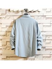 Pockets Solid Color Mens Shirt Casual