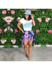 Tassel Hem Tie Dye High Waist Denim Shorts Women