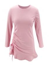 Drawstring Pink Long Sleeve Short Dress