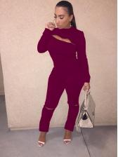 Zipper Up Solid Color Women Sweatshirt Sets