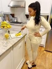 Long Sleeve Striped Two Piece Pants Set
