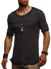 Summer Short Sleeve Solid Cotton Tee Shirt For Men